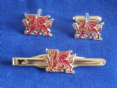 WELSH DRAGON CUFF LINK AND TIE GRIP / CLIP GIFT SET